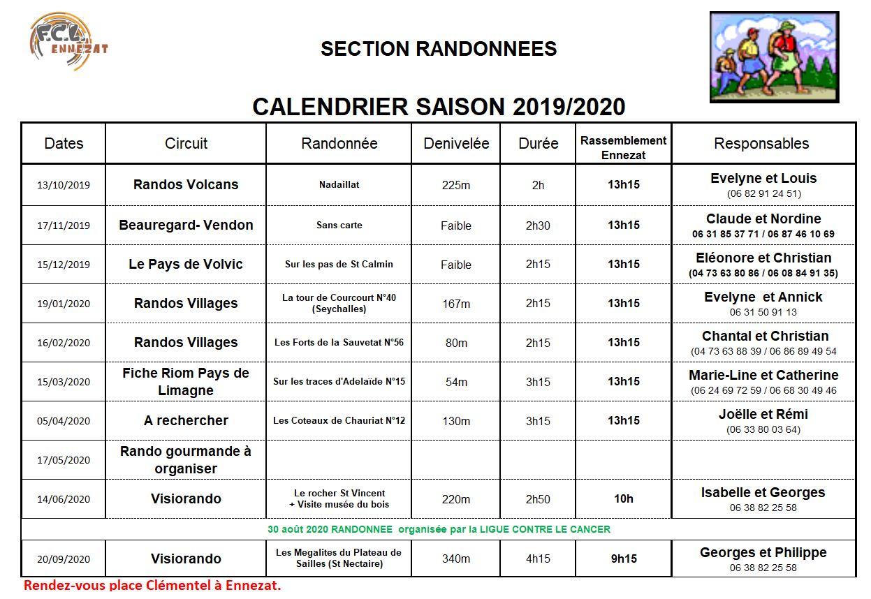 calendrier 2019-2020